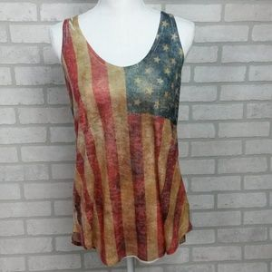 Enti Sublimated Antiqued American Flag Tank LG